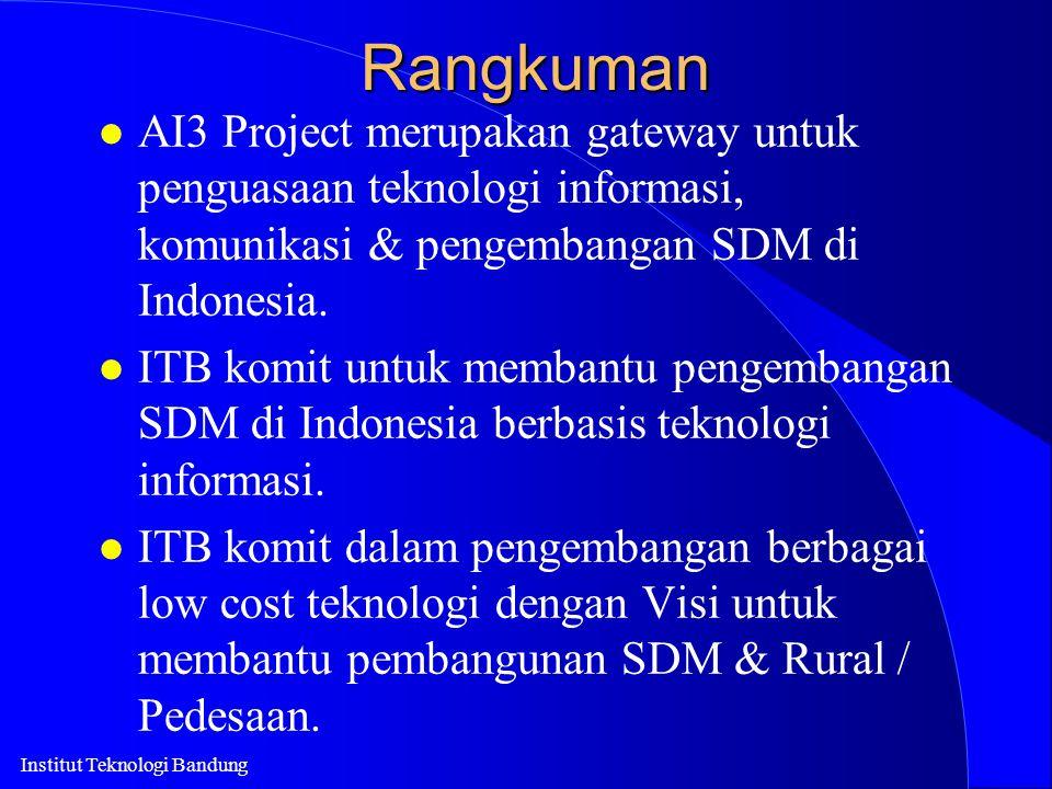 Institut Teknologi BandungRangkuman l AI3 Project merupakan gateway untuk penguasaan teknologi informasi, komunikasi & pengembangan SDM di Indonesia.