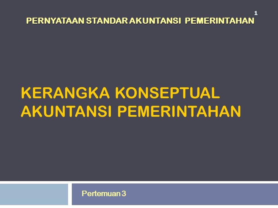 KERANGKA KONSEPTUAL AKUNTANSI PEMERINTAHAN 1 Pertemuan 3 PERNYATAAN STANDAR AKUNTANSI PEMERINTAHAN