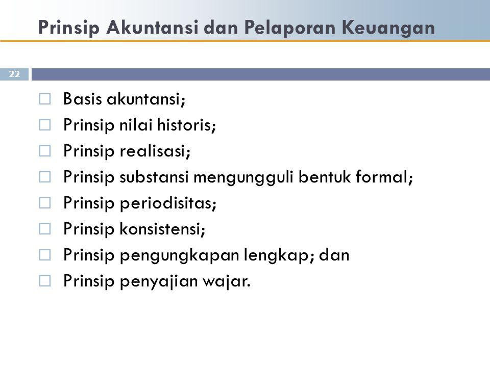 Prinsip Akuntansi dan Pelaporan Keuangan 22  Basis akuntansi;  Prinsip nilai historis;  Prinsip realisasi;  Prinsip substansi mengungguli bentuk f