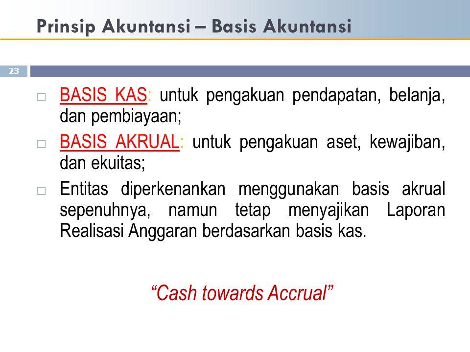 Prinsip Akuntansi – Basis Akuntansi 23  BASIS KAS: untuk pengakuan pendapatan, belanja, dan pembiayaan;  BASIS AKRUAL: untuk pengakuan aset, kewajib