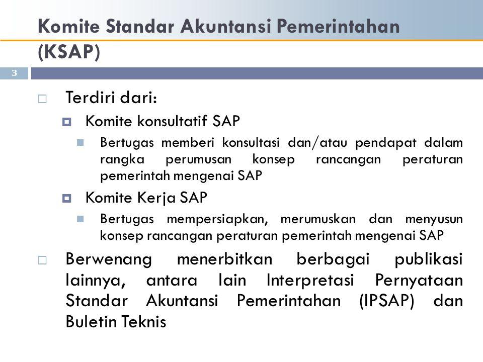 Komite Standar Akuntansi Pemerintahan (KSAP)  Proses penyiapan SAP  Identifikasi topik untuk dikembangkan menjadi standar  Pembentukan kelompok kerja (Pokja) di dalam KSAP yang berasal dari berbagai instansi yang kompeten di bidangnya  Riset terbatas oleh kelompok kerja  Penulisan draf SAP oleh Kelompok kerja  Pembahasan draf oleh Komite kerja (termasuk diskusi dengan BPK) yang mengutamakan pada substansi dan implikasi penerapan standar 4