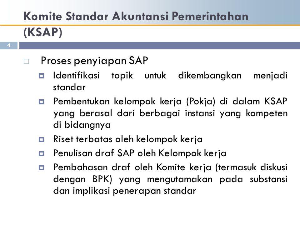 Komite Standar Akuntansi Pemerintahan (KSAP)  Proses penyiapan SAP  Pengambilan keputusan draf untuk dipublikasikan (diskusi antara Komite kerja dengan Komite konsultatif)  Peluncuran Draf Publikasian SAP (Exposure Draft) dengan mengirimkannya kepada para stakeholders  Dengar pendapat terbatas/limited hearing (dengan mengundang pihak2 dari kalangan akademisi, praktisi dan pemerhati akuntansi pemerintahan) dan dengar pendapat publik/public hearings (dengan masyarakat yang berkepentingan terhadap SAP)  Pembahasan tanggapan dan masukan terhadap Draf Publikasian  Finalisasi standar 5
