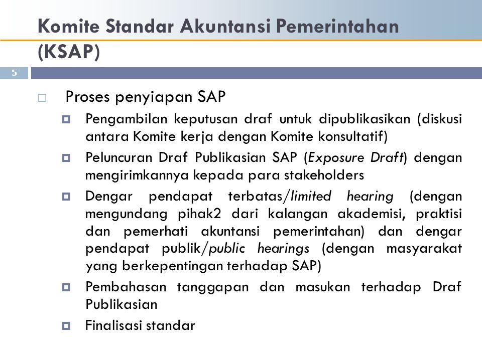 Komite Standar Akuntansi Pemerintahan (KSAP)  Proses penyiapan SAP  Pengambilan keputusan draf untuk dipublikasikan (diskusi antara Komite kerja den