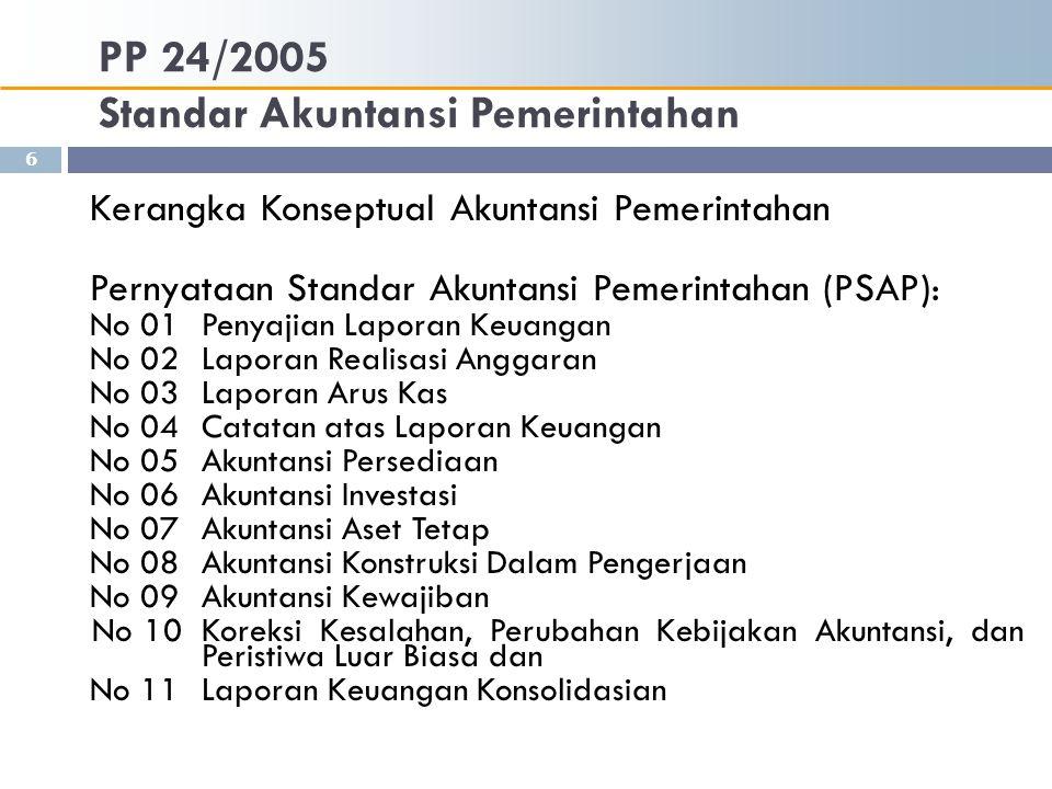 PP 24/2005 Standar Akuntansi Pemerintahan Kerangka Konseptual Akuntansi Pemerintahan Pernyataan Standar Akuntansi Pemerintahan (PSAP): No 01 Penyajian