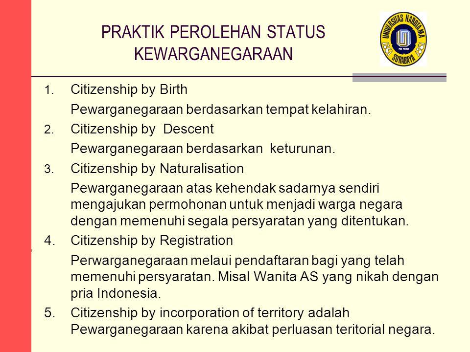 PRAKTIK PEROLEHAN STATUS KEWARGANEGARAAN 1. Citizenship by Birth Pewarganegaraan berdasarkan tempat kelahiran. 2. Citizenship by Descent Pewarganegara