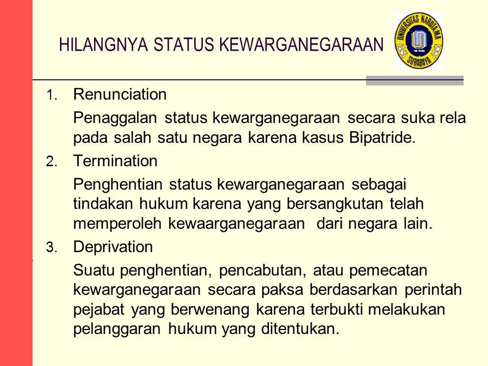 HILANGNYA STATUS KEWARGANEGARAAN 1. Renunciation Penaggalan status kewarganegaraan secara suka rela pada salah satu negara karena kasus Bipatride. 2.
