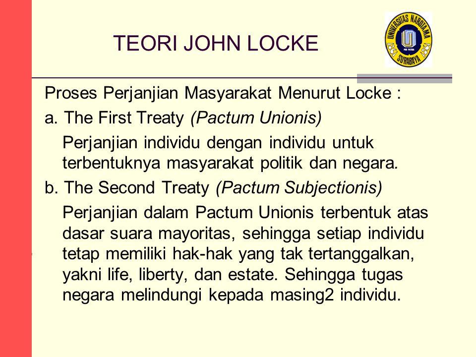 TEORI JOHN LOCKE Proses Perjanjian Masyarakat Menurut Locke : a. The First Treaty (Pactum Unionis) Perjanjian individu dengan individu untuk terbentuk