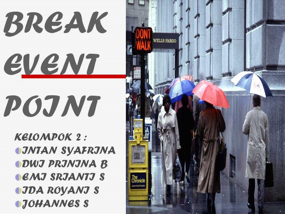 Break Event Point merupakan titik potong pokok, dimana perusahaan tidak mengalami kerugian maupun mendapatkan laba BEP TR (total revenue) = TC (total cost) BEP TR = TC TR = PQ TC = TFC +TVC