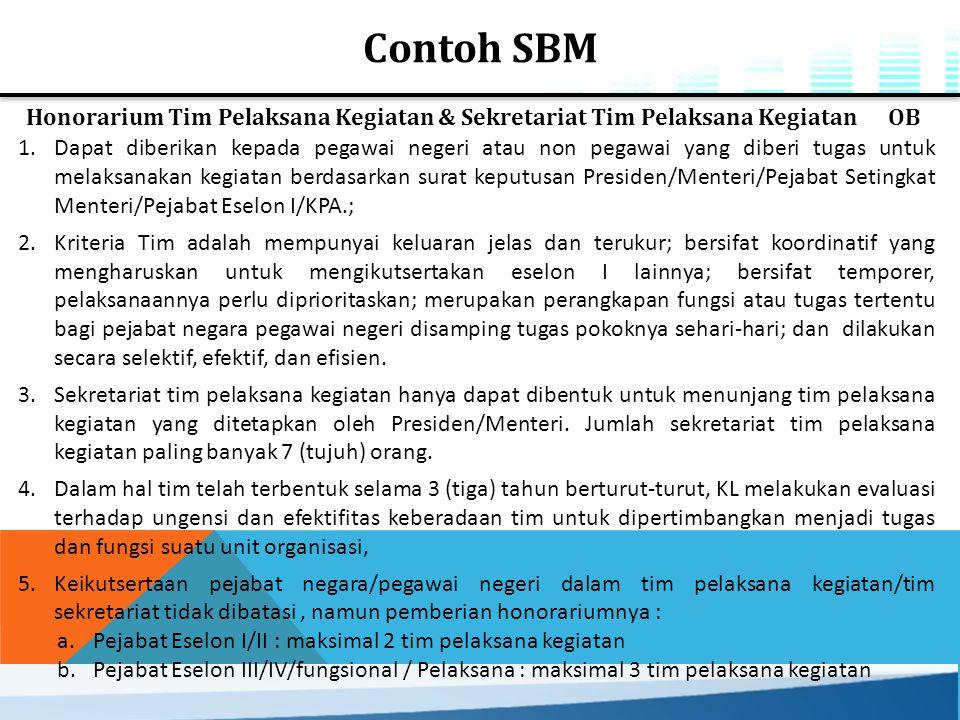 Contoh SBM Honorarium Tim Pelaksana Kegiatan & Sekretariat Tim Pelaksana Kegiatan OB 1.Dapat diberikan kepada pegawai negeri atau non pegawai yang dib