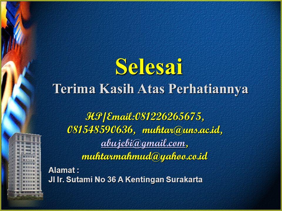 Selesai Terima Kasih Atas Perhatiannya Alamat : Jl Ir. Sutami No 36 A Kentingan Surakarta HP/Email:081226265675, 081548590636, muhtar@uns.ac.id, abuje