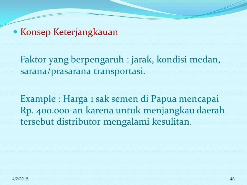 Konsep Jarak 1. Jarak mutlak : jarak horisontal antara dua titik di permukaan bumi. Satuannya cm --- km Example : Jarak antara Jakarta- Semarang adala