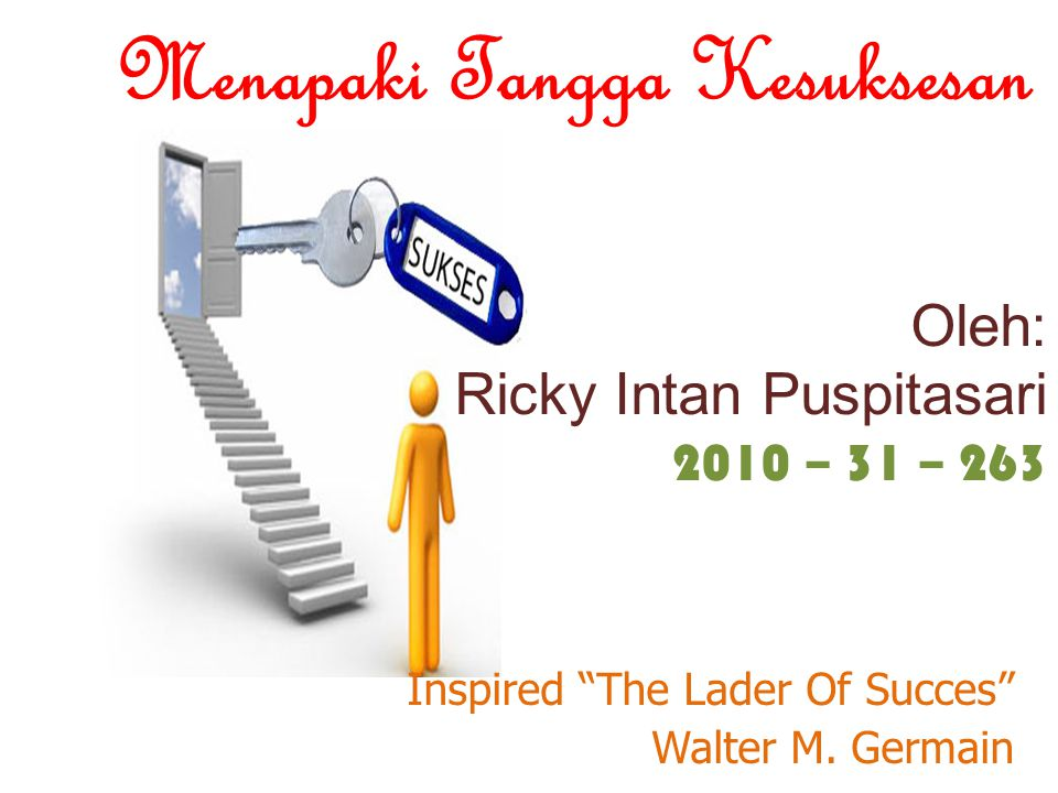 Oleh: Ricky Intan Puspitasari 2010 – 31 – 263 Inspired The Lader Of Succes Walter M.