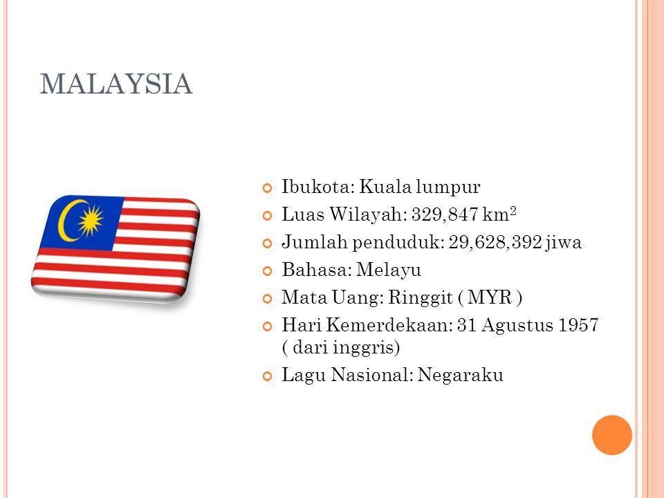 MALAYSIA Ibukota: Kuala lumpur Luas Wilayah: 329,847 km 2 Jumlah penduduk: 29,628,392 jiwa Bahasa: Melayu Mata Uang: Ringgit ( MYR ) Hari Kemerdekaan:
