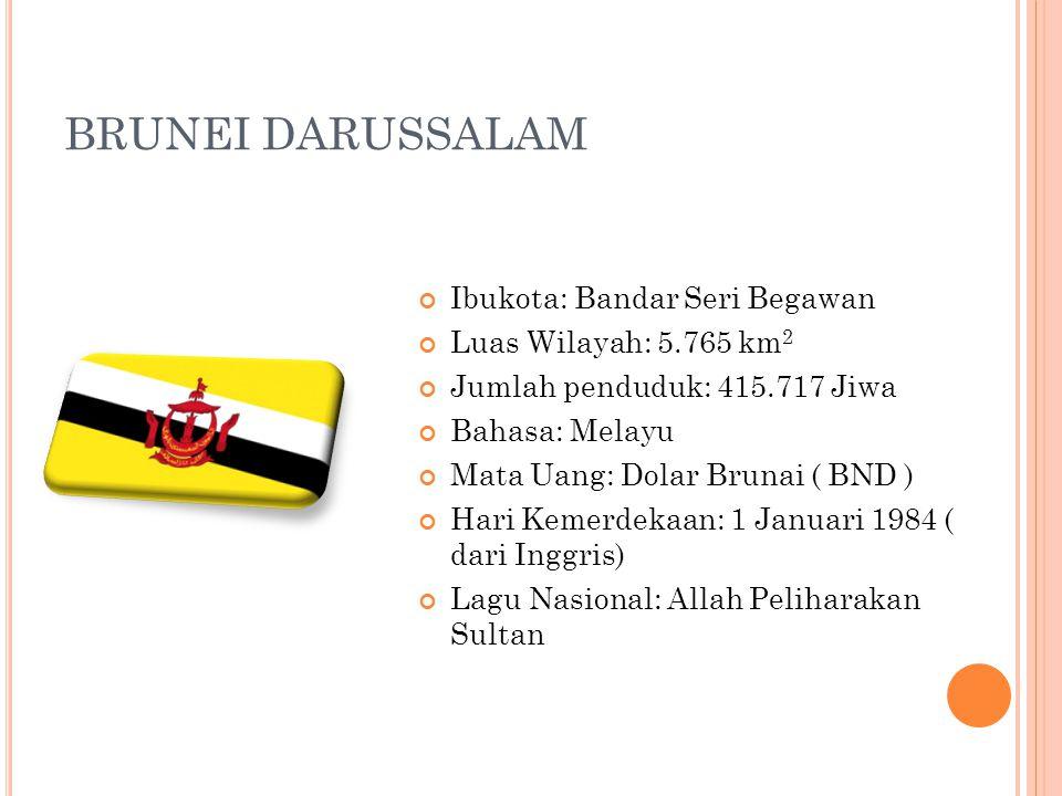 BRUNEI DARUSSALAM Ibukota: Bandar Seri Begawan Luas Wilayah: 5.765 km 2 Jumlah penduduk: 415.717 Jiwa Bahasa: Melayu Mata Uang: Dolar Brunai ( BND ) H