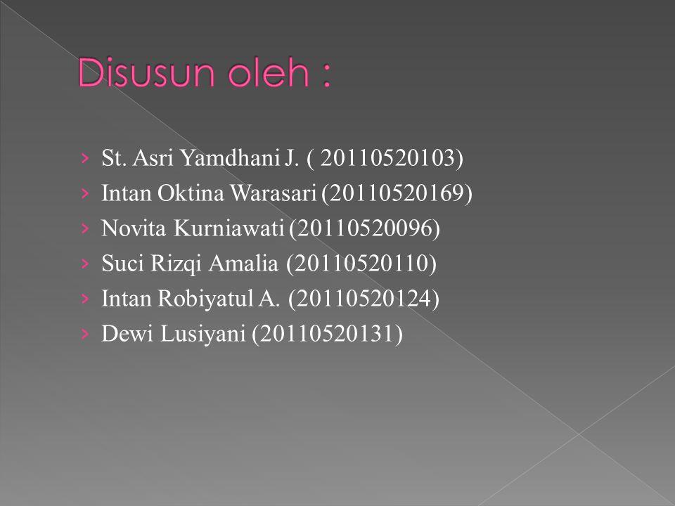 › St. Asri Yamdhani J. ( 20110520103) › Intan Oktina Warasari (20110520169) › Novita Kurniawati (20110520096) › Suci Rizqi Amalia (20110520110) › Inta