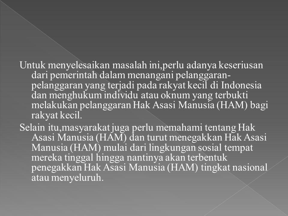 Untuk menyelesaikan masalah ini,perlu adanya keseriusan dari pemerintah dalam menangani pelanggaran- pelanggaran yang terjadi pada rakyat kecil di Indonesia dan menghukum individu atau oknum yang terbukti melakukan pelanggaran Hak Asasi Manusia (HAM) bagi rakyat kecil.