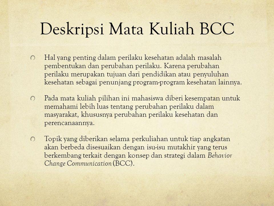 Deskripsi Mata Kuliah BCC Hal yang penting dalam perilaku kesehatan adalah masalah pembentukan dan perubahan perilaku.