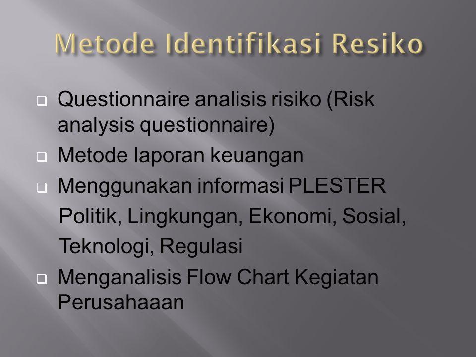  Questionnaire analisis risiko (Risk analysis questionnaire)  Metode laporan keuangan  Menggunakan informasi PLESTER Politik, Lingkungan, Ekonomi, Sosial, Teknologi, Regulasi  Menganalisis Flow Chart Kegiatan Perusahaaan
