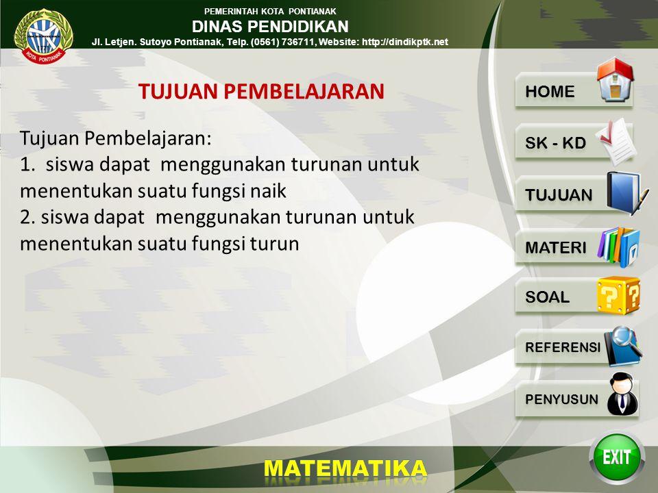 PEMERINTAH KOTA PONTIANAK DINAS PENDIDIKAN Jl. Letjen. Sutoyo Pontianak, Telp. (0561) 736711, Website: http://dindikptk.net Menggunakan konsep limit f