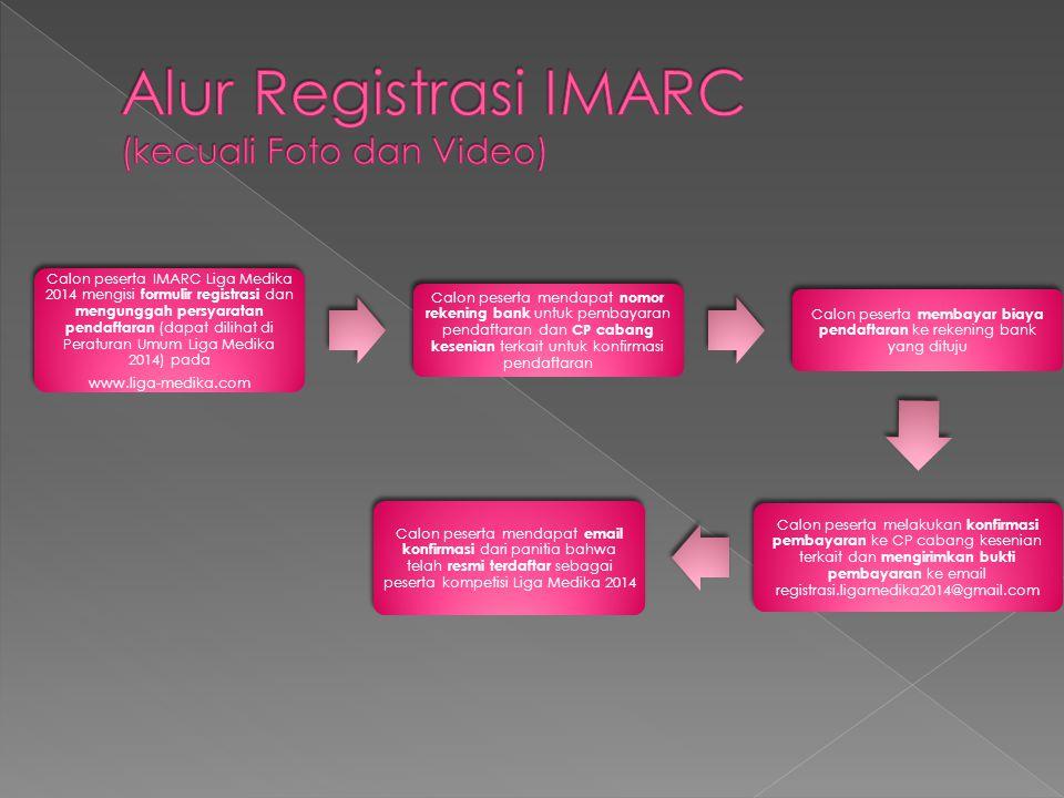  IMARC : saat rentang pendaftaran › Trads : 350.000 / tim › Foto : 50.000/foto; Video : 75.000/video; Rally Photo : 35.000 / orang › Band : 100.000 / tim