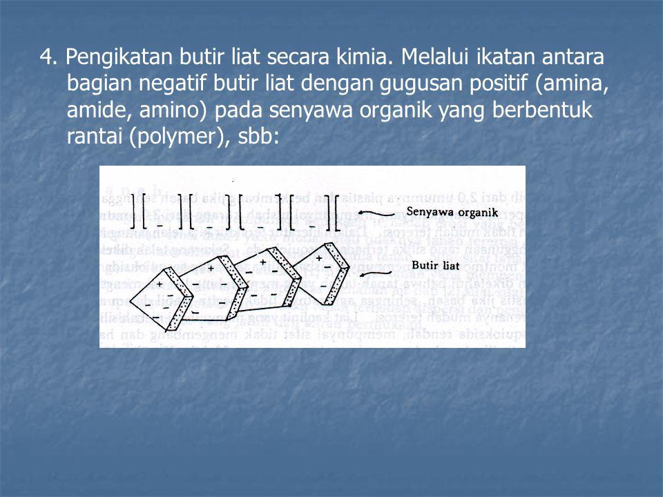 4. Pengikatan butir liat secara kimia. Melalui ikatan antara bagian negatif butir liat dengan gugusan positif (amina, amide, amino) pada senyawa organ