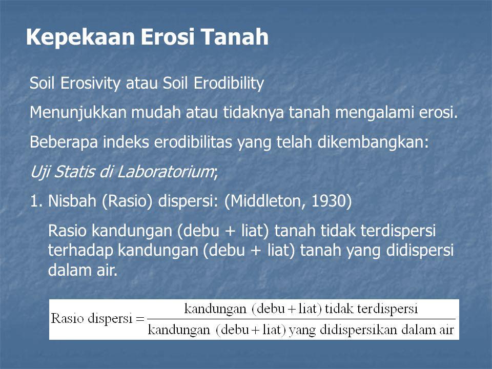 Kepekaan Erosi Tanah Soil Erosivity atau Soil Erodibility Menunjukkan mudah atau tidaknya tanah mengalami erosi. Beberapa indeks erodibilitas yang tel