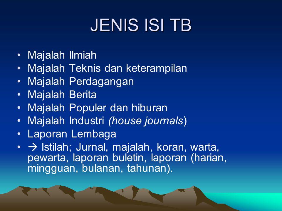 JENIS ISI TB Majalah Ilmiah Majalah Teknis dan keterampilan Majalah Perdagangan Majalah Berita Majalah Populer dan hiburan Majalah Industri (house jou