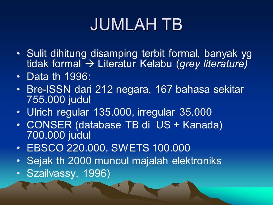 JUMLAH TB Sulit dihitung disamping terbit formal, banyak yg tidak formal  Literatur Kelabu (grey literature) Data th 1996: Bre-ISSN dari 212 negara,