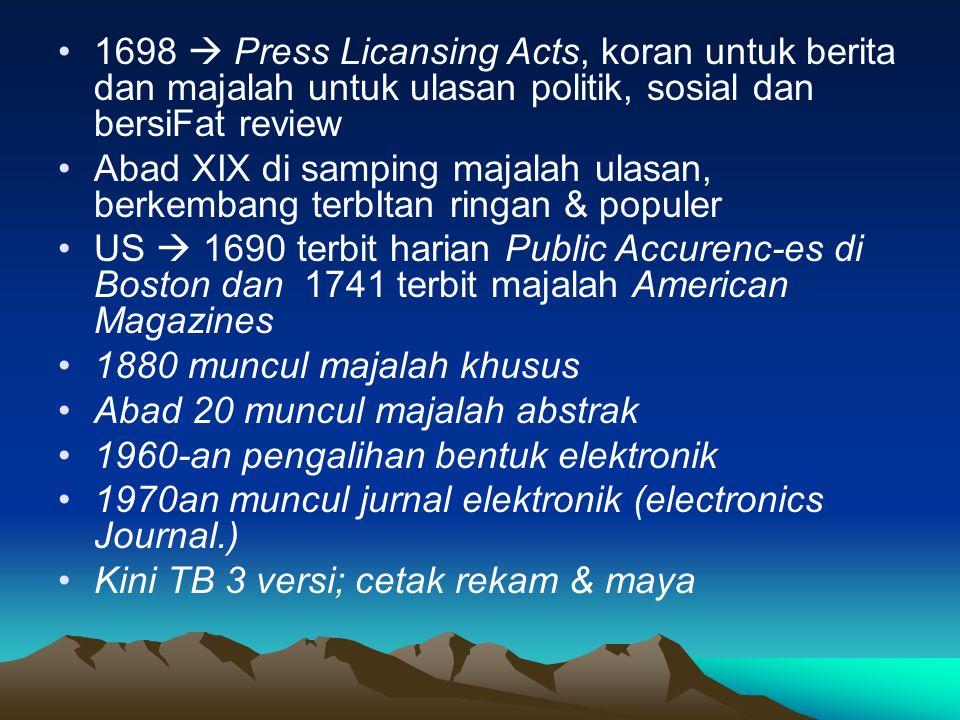 PENGATALOGAN SUBJEK Penentuan Tajuk Subjek dan Klasifikasi adalah sama dengan monograf.