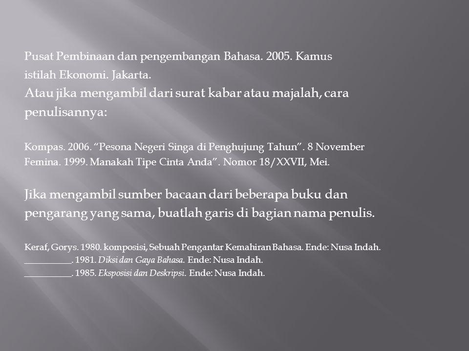 Pusat Pembinaan dan pengembangan Bahasa. 2005. Kamus istilah Ekonomi. Jakarta. Atau jika mengambil dari surat kabar atau majalah, cara penulisannya: K