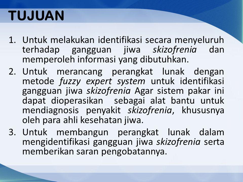 TUJUAN 1.Untuk melakukan identifikasi secara menyeluruh terhadap gangguan jiwa skizofrenia dan memperoleh informasi yang dibutuhkan. 2.Untuk merancang