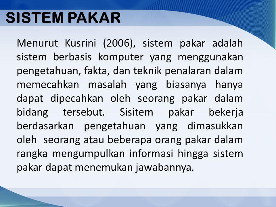 SISTEM PAKAR Menurut Kusrini (2006), sistem pakar adalah sistem berbasis komputer yang menggunakan pengetahuan, fakta, dan teknik penalaran dalam meme