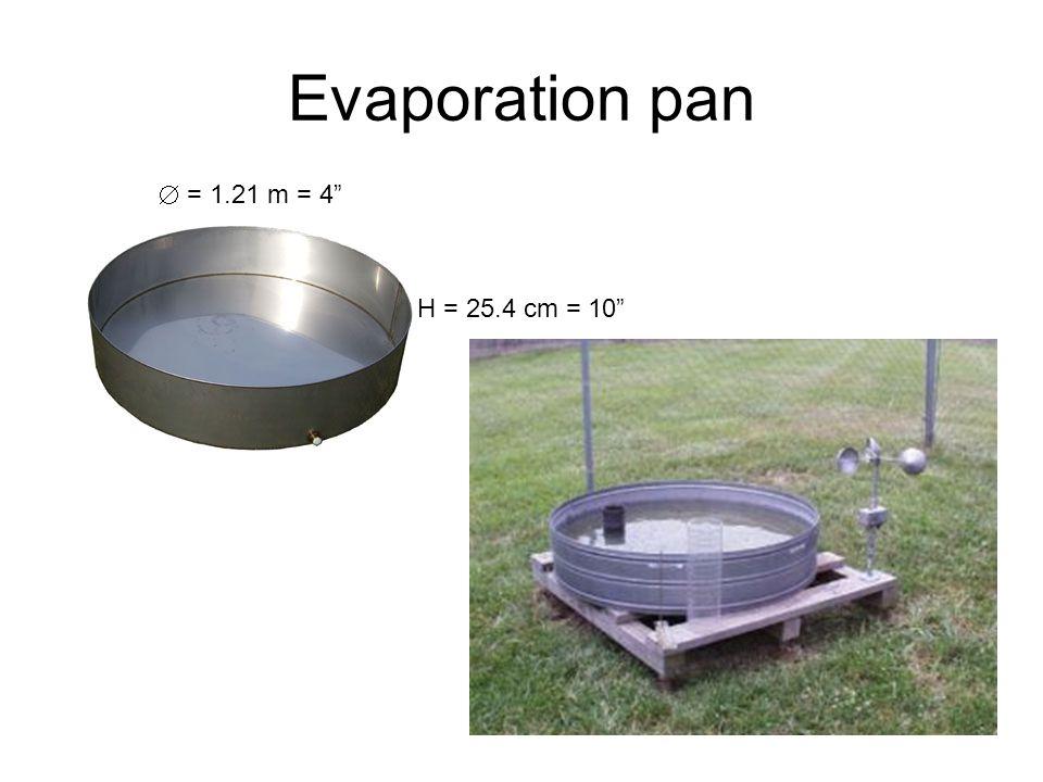 "Evaporation pan  = 1.21 m = 4"" H = 25.4 cm = 10"""