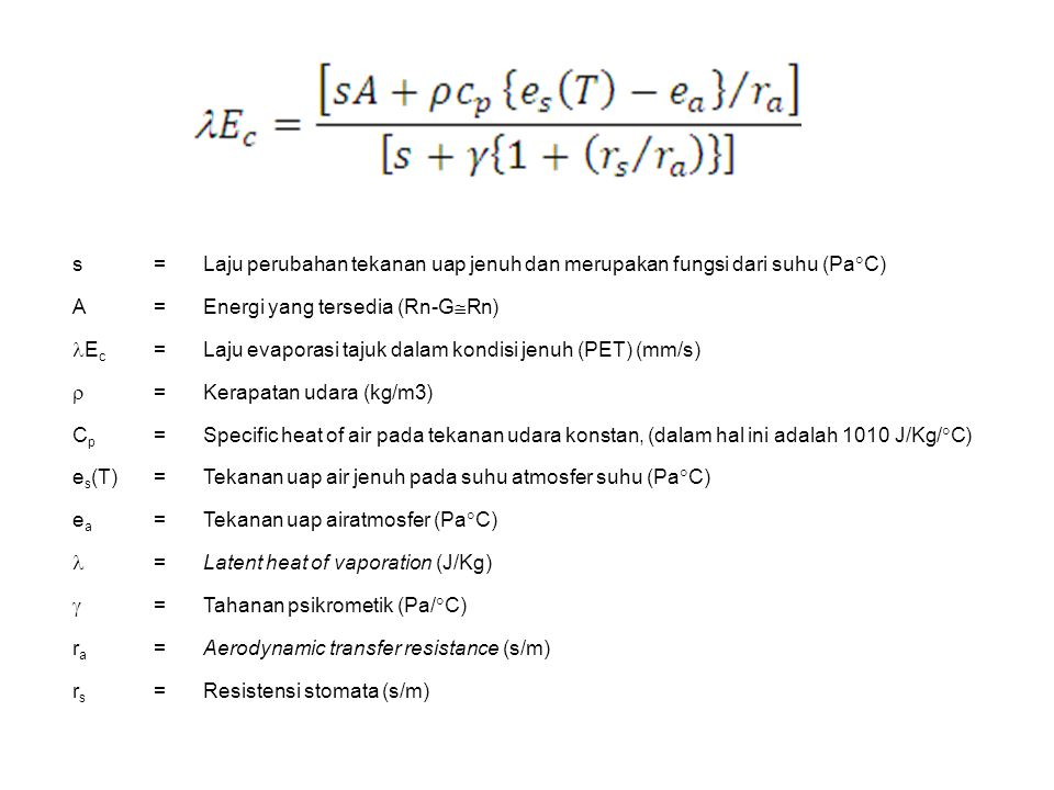 s= Laju perubahan tekanan uap jenuh dan merupakan fungsi dari suhu (Pa  C) A= Energi yang tersedia (Rn-G  Rn) E c =Laju evaporasi tajuk dalam kondis