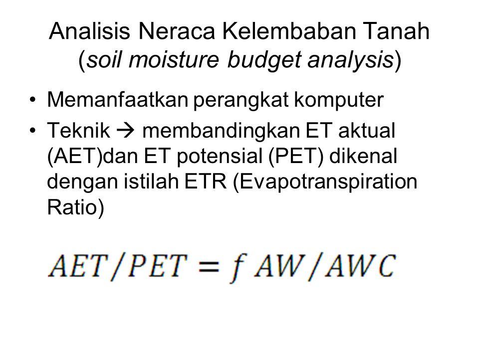 Analisis Neraca Kelembaban Tanah (soil moisture budget analysis) Memanfaatkan perangkat komputer Teknik  membandingkan ET aktual (AET)dan ET potensia
