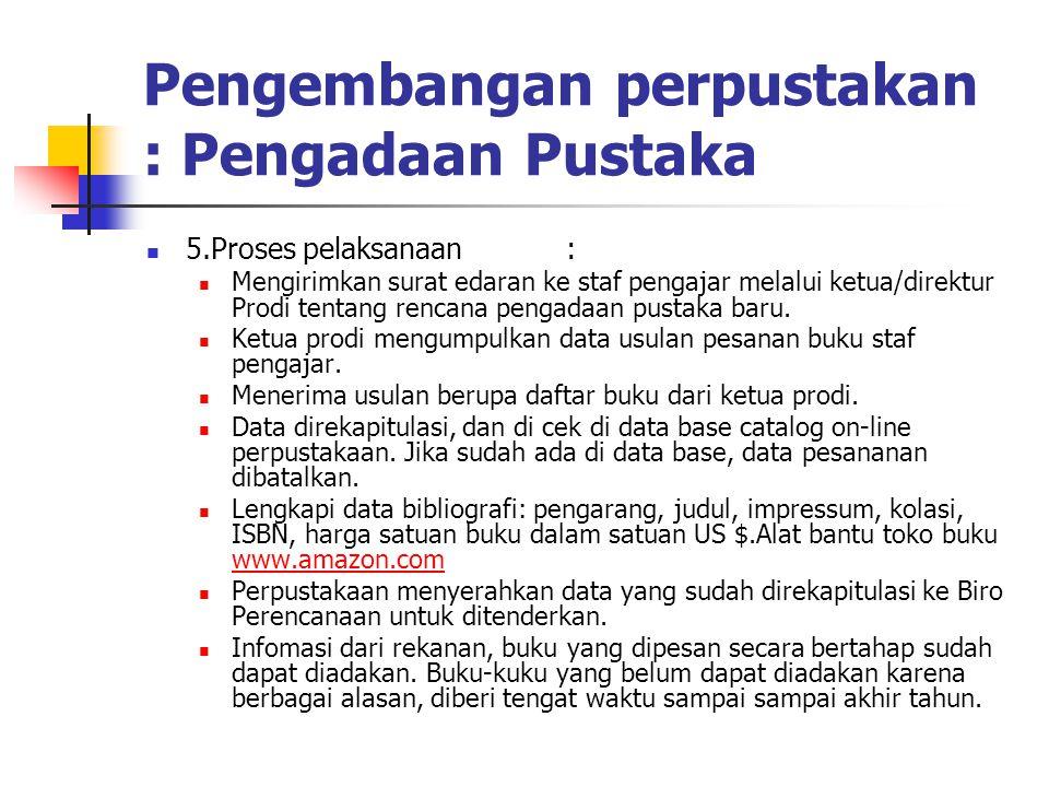 Pengembangan perpustakan : Pengadaan Pustaka 5.Proses pelaksanaan: Mengirimkan surat edaran ke staf pengajar melalui ketua/direktur Prodi tentang renc