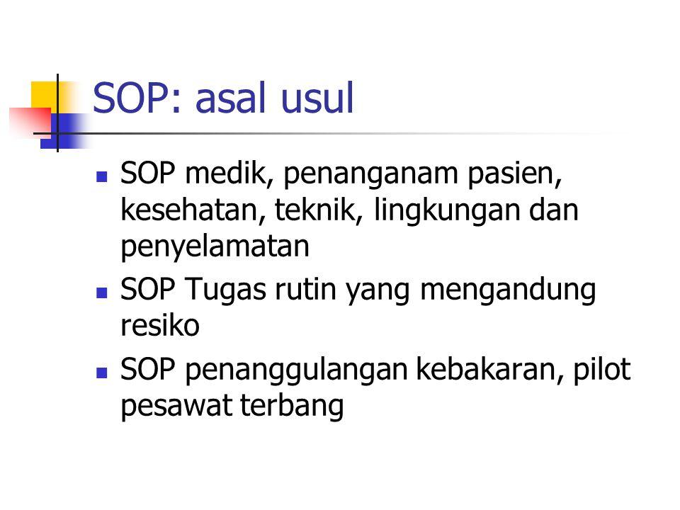 SOP: asal usul SOP medik, penanganam pasien, kesehatan, teknik, lingkungan dan penyelamatan SOP Tugas rutin yang mengandung resiko SOP penanggulangan