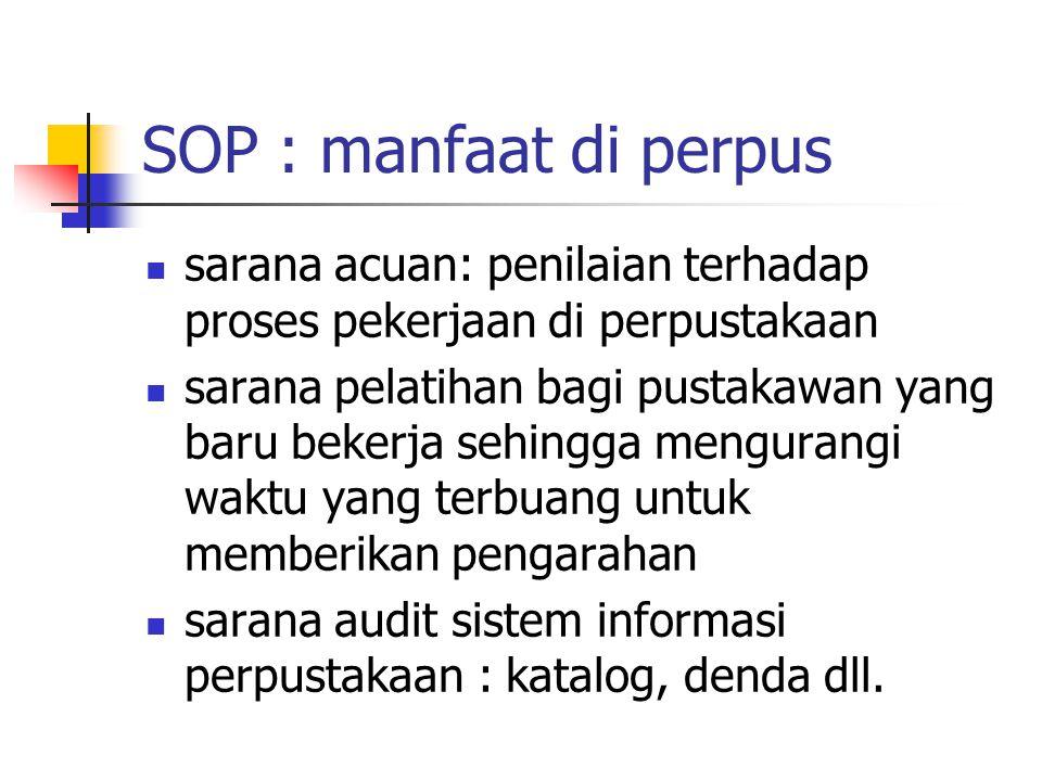 SOP : manfaat di perpus sarana acuan: penilaian terhadap proses pekerjaan di perpustakaan sarana pelatihan bagi pustakawan yang baru bekerja sehingga