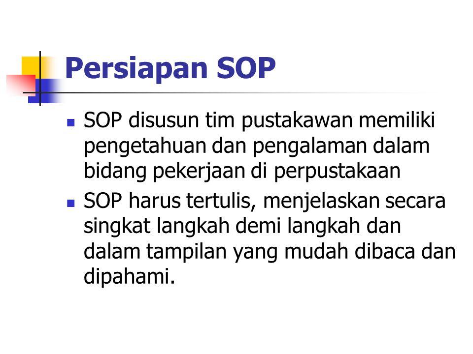 Persiapan SOP SOP disusun tim pustakawan memiliki pengetahuan dan pengalaman dalam bidang pekerjaan di perpustakaan SOP harus tertulis, menjelaskan se