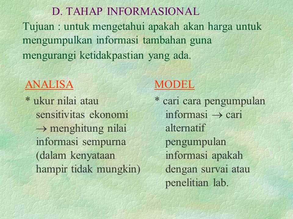 D. TAHAP INFORMASIONAL Tujuan : untuk mengetahui apakah akan harga untuk mengumpulkan informasi tambahan guna mengurangi ketidakpastian yang ada. ANAL