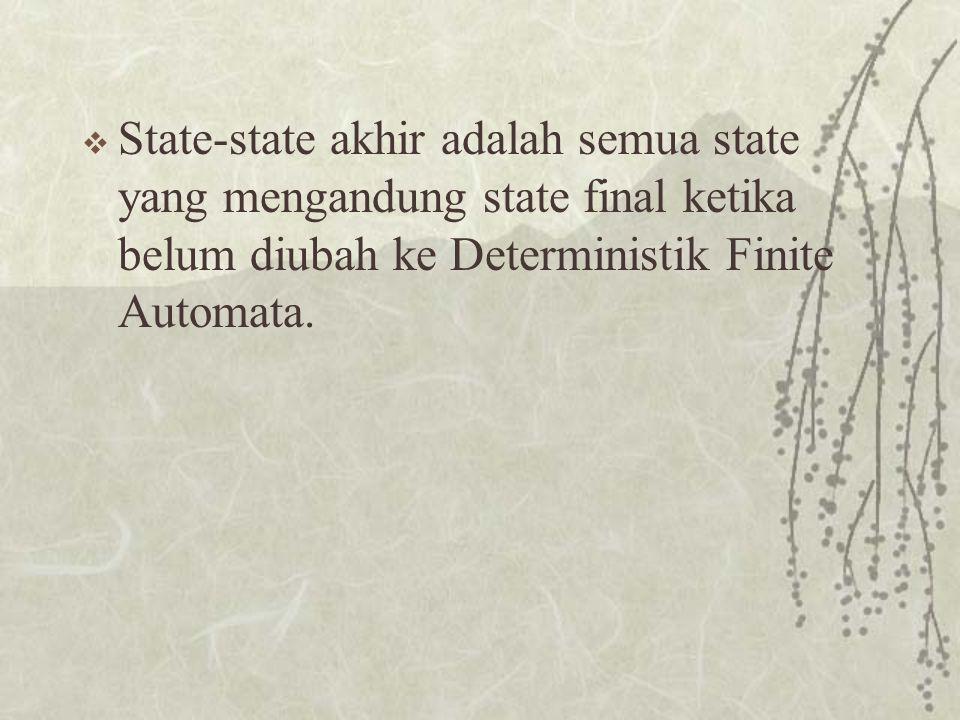  State-state akhir adalah semua state yang mengandung state final ketika belum diubah ke Deterministik Finite Automata.