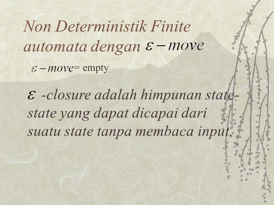 Non Deterministik Finite automata dengan = empty -closure adalah himpunan state- state yang dapat dicapai dari suatu state tanpa membaca input.