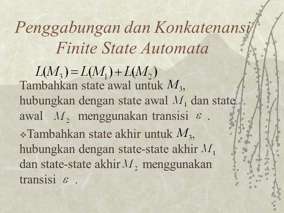 Penggabungan dan Konkatenansi Finite State Automata Tambahkan state awal untuk, hubungkan dengan state awal dan state awal menggunakan transisi.  Tam