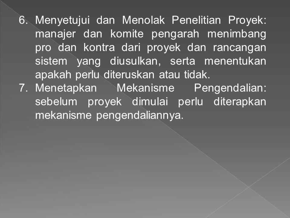 6.Menyetujui dan Menolak Penelitian Proyek: manajer dan komite pengarah menimbang pro dan kontra dari proyek dan rancangan sistem yang diusulkan, sert