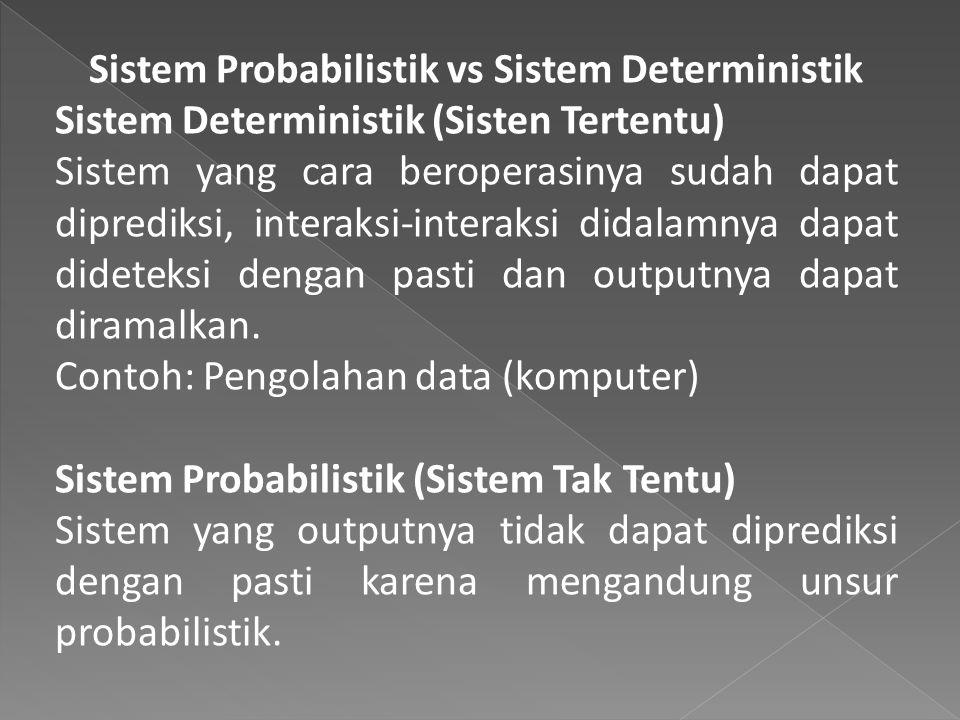 Sistem Probabilistik vs Sistem Deterministik Sistem Deterministik (Sisten Tertentu) Sistem yang cara beroperasinya sudah dapat diprediksi, interaksi-interaksi didalamnya dapat dideteksi dengan pasti dan outputnya dapat diramalkan.