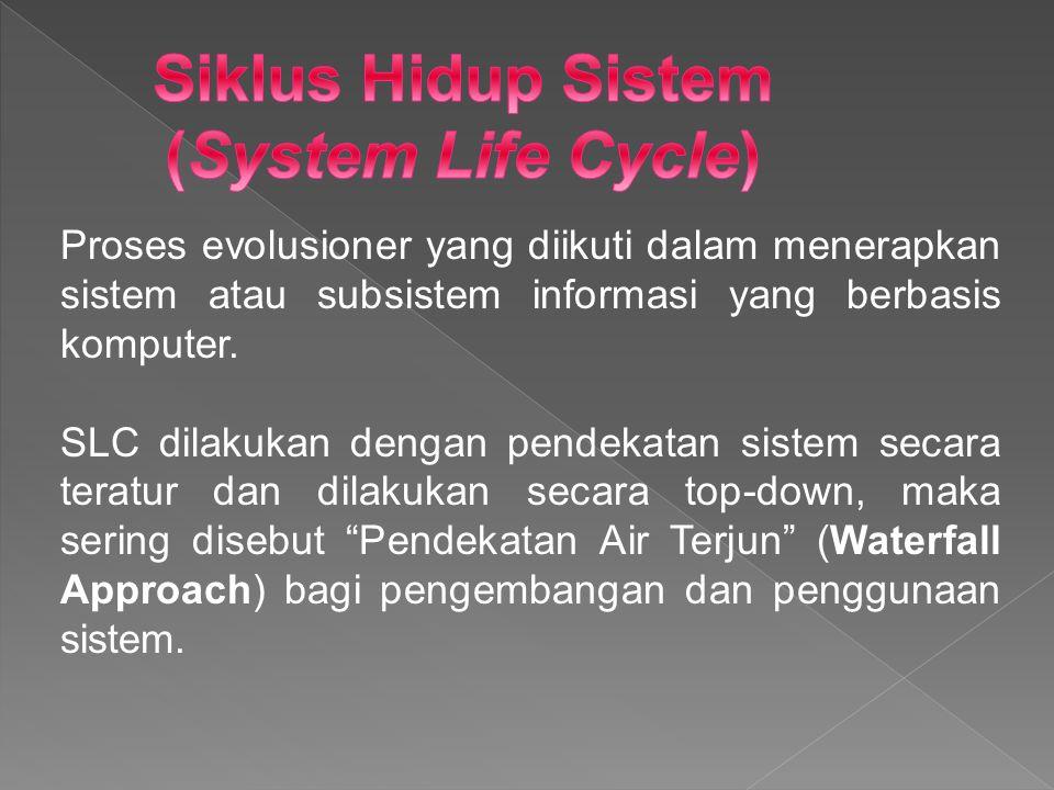 Proses evolusioner yang diikuti dalam menerapkan sistem atau subsistem informasi yang berbasis komputer. SLC dilakukan dengan pendekatan sistem secara