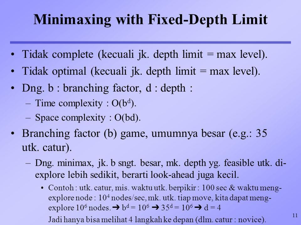 11 Minimaxing with Fixed-Depth Limit Tidak complete (kecuali jk. depth limit = max level). Tidak optimal (kecuali jk. depth limit = max level). Dng. b