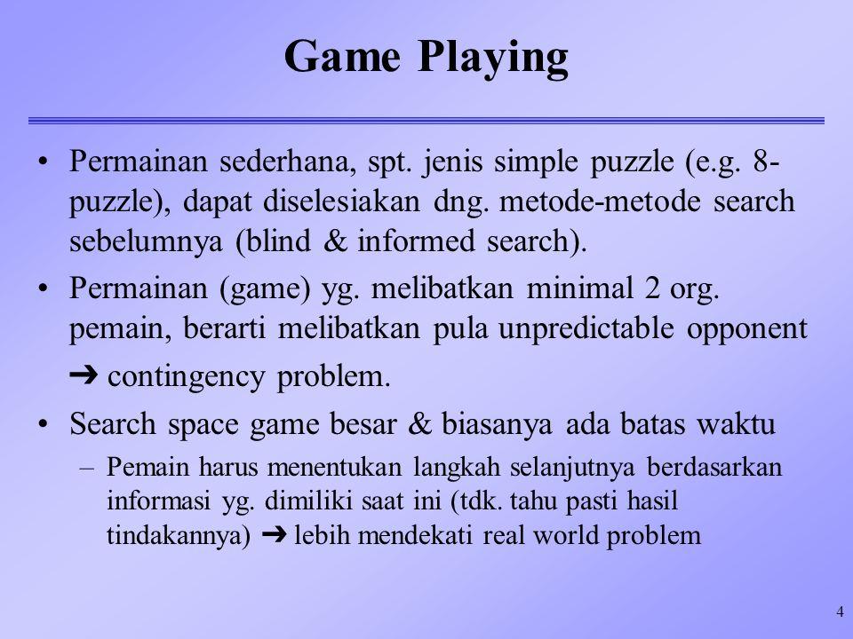 4 Game Playing Permainan sederhana, spt. jenis simple puzzle (e.g. 8- puzzle), dapat diselesiakan dng. metode-metode search sebelumnya (blind & inform