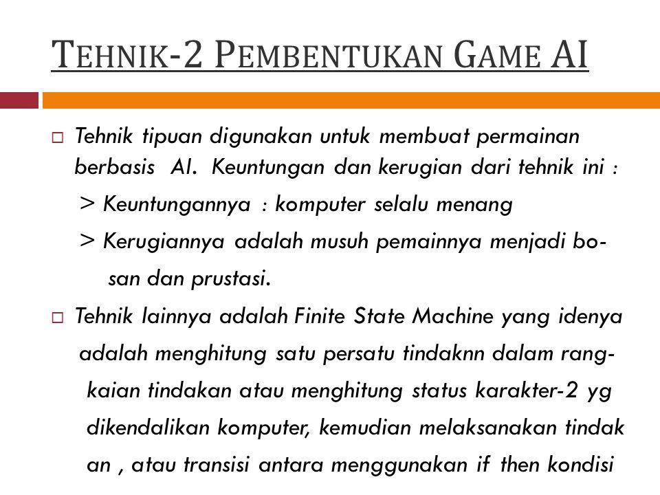T EHNIK -2 P EMBENTUKAN G AME AI  Tehnik tipuan digunakan untuk membuat permainan berbasis AI.