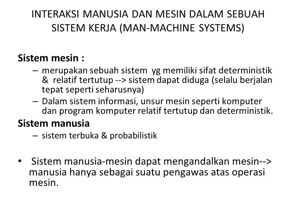 INTERAKSI MANUSIA DAN MESIN DALAM SEBUAH SISTEM KERJA (MAN-MACHINE SYSTEMS) Sistem mesin : – merupakan sebuah sistem yg memiliki sifat deterministik &